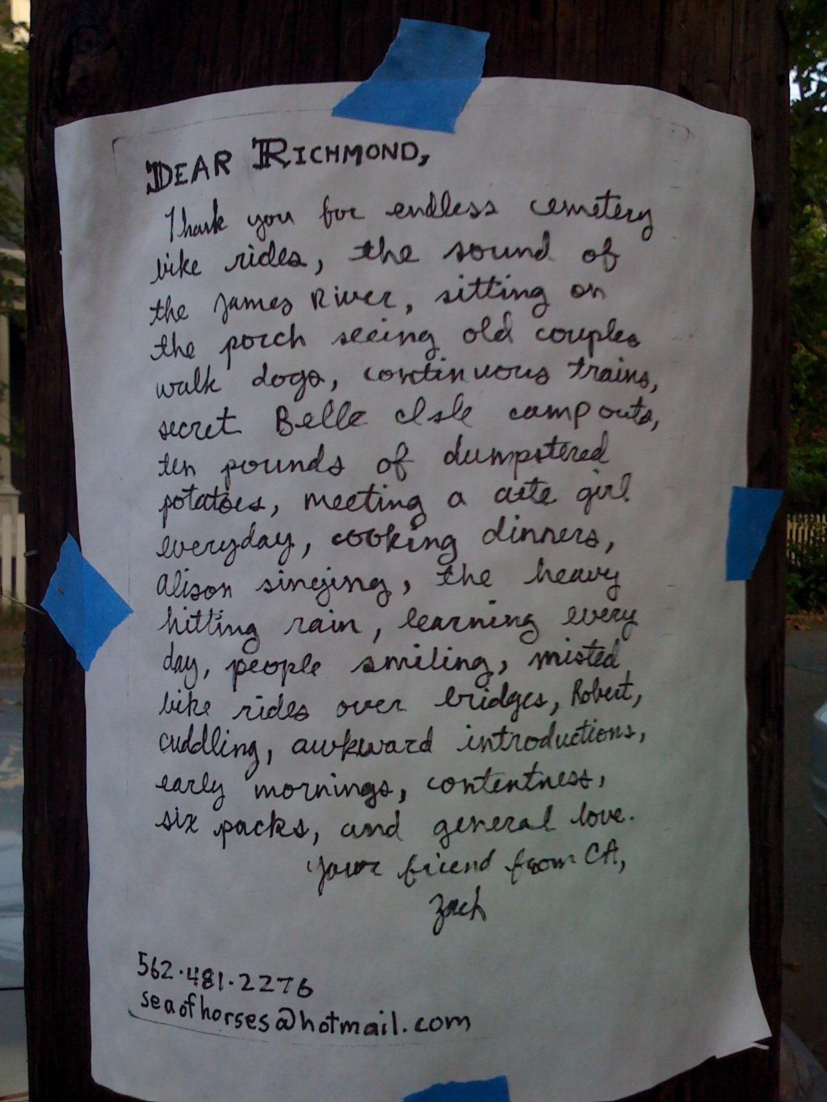 letter on telephone pole on Pine Street
