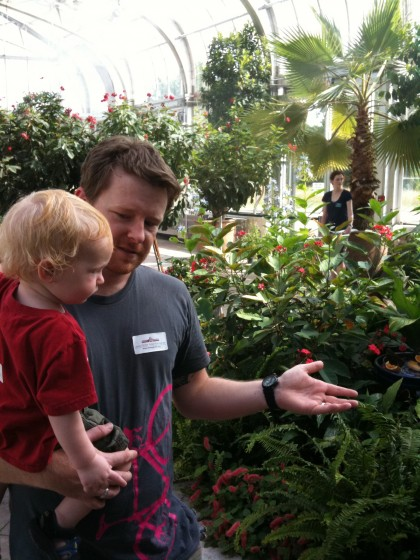 Food blogger ('Carmalized Opinions')/activist Jason Guard and his kid Jasper in the butterfly exhibit.