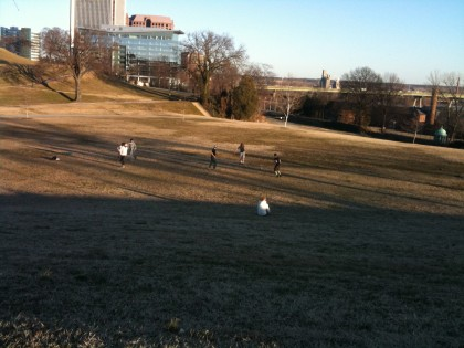 A pickup soccer game near Ethyl (Afton Chemical)