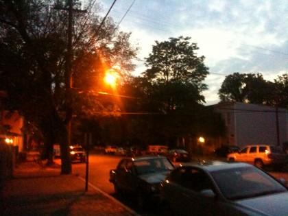looking west toward S. Laurel Street intersection