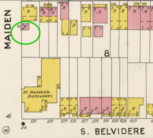 location of Salvation Army -1905 Sanborn map